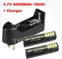 18650 3.7V 4000mAh Rechargeable Battery +18650  chager  for LED Flashlight  2*186550 4000mah+charger