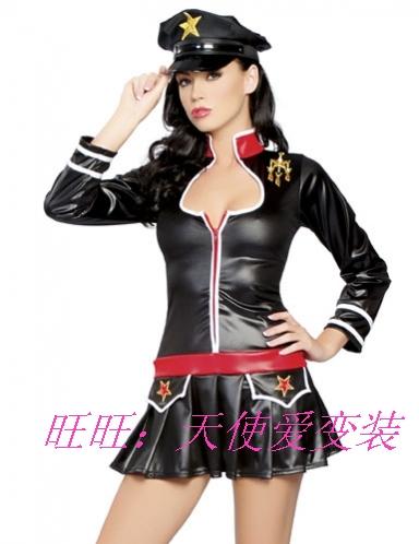 Black long-sleeve japanned leather short skirt female police uniform police uniform ds cosplay costume(China (Mainland))