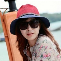 New Fashion Restro Ladies Summer Coloring Bowtie Buckle Straw Hat Big 360 Peak Topee Flat Top Beach Hat C020 FREE SHIPPING