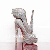 Luxury Daffodile 160mm Heel Diamond Platform Bridal Pumps Shoes AB Crystal Rhinestone High Heels Wedding Shoes