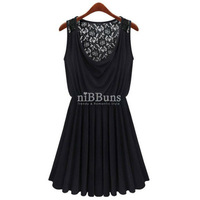 BEAUTIFUL WOMEN LACE BACK ELASTIC WAIST TANK DRESS  GWF-3362