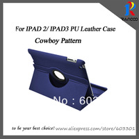 New arrival, Classic british style,Cowboy Jeans 360 degree rotating case for ipad 2/3/4, opp bag packing