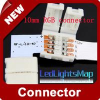 DHL EMS Free Shipping 10mm width L Shapr Solderless Connector for RGB Led Strip Wholesalelor Strip Wholesale  [ LedLightsMap ]