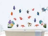Underwater world fish shark the sixth generation can remove the wall sticker sitting room bedroom bathroom background sticker
