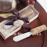 Factory directly sale 40pcs/lot Wedding favor Stainless Steel Spreader with Wine Cork Handle