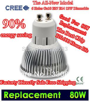 Free Shipping Fedex DHL10pcs/Lot GU10 E27 E14 12W VS 80W / 9W VS 50W Dimmable High Power Rotundity CREE Light LED Bulb Downlight