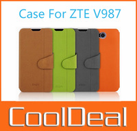 4 Color,High Quality Support Faction Flip leather case for ZTE V987,100% MOFI leather Cover Shell for ZTE Grand X Quad