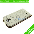 High Quality Bling Glitter Diamond Leather Flip Case Cover for Samsung Galaxy S4 I9500 Free Shipping UPS DHL EMS HKPAM CPAM