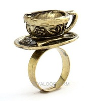 8pcs Wholsale 10pcs Lots Punk Rock Jewellry Vintage Bronze Coffee Cup Open Ring 60287