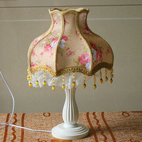 Quality fashion rustic lace table lamp bedroom bedside lamp rustic solid wood table lamp