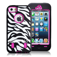 Hot Sale Black Silicone High Impart  Rugged Zebra Case for IP 5