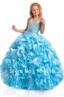 Wholesale - 2013 Flower Gril Dresses Halter Beaded Ruffles taffeta Princess Pageant Girl's fromal dressesSize .4.6.8.10.12.14.16