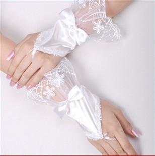 Livraison gratuite mode perles en dentelle de mariée en satin fingerless gants de mariée 5pcs/lot #k422d