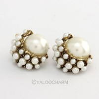 6pairs  Fashion Silver Golden Crystal Rhinestone Pearl Gem Stud Earrings 60292