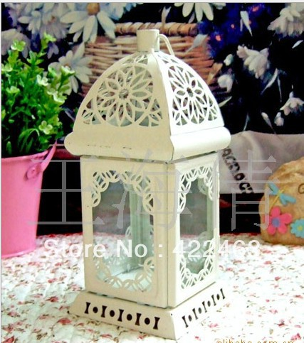 The Mediterranean amorous feelings * white carve patterns or designs on woodwork, wrought iron storm lantern candle holders(China (Mainland))