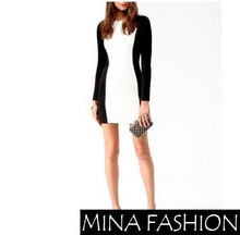 SEXY COLOR BLOCK SLIM FIT LONG SLEEVE CREW NECK DRESS Freeshipping(China (Mainland))