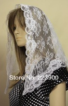 White First Communion veil mantilla Catholic church chapel scarf lace Mass WN(China (Mainland))