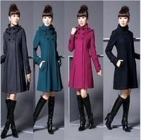 Free shipping 2013 New Fashion Women's Slim Wool Double-breasted Coat Winter,Black/Gray /Blue/ Purple