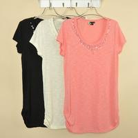 2013 spring and summer women's long design loose paillette o-neck short-sleeve T-shirt shirt plus size
