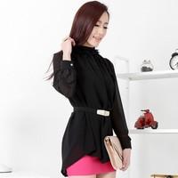 2013 summer women's chiffon long-sleeve shirt loose plus size elegant ol chiffon shirt female