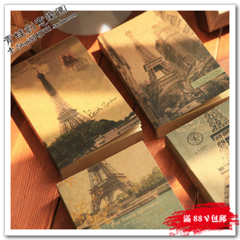 Eiffel tower thick diary vintage fashion notebook notepad cowhide paper personalized notebook(China (Mainland))