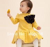 free shipping  2013 new best quality princess  brand Children dress girl's Polka dot bow dress princess dress