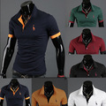 Free Shipping 2013 new Men&#39;s Polo Shirt short sleeve Casual Slim Fit Stylish Shirts Cotton fashion design t shirt 6 colors