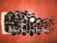 "AAAAA New Style 12"" #1b Loose Curl  Brazilian Virgin Human Hair Silk Base 4""*4""  Lace Closure"