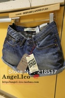 Free Shipping  2013 New Spring and Summer woman female fashion water wash cat retro finishing roll-up hem denim shorts S-08