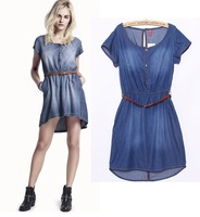 2013 new Fashion Women's denim dress,Elastic waist casual denim skirts,Girl's jeans dress free shipping D2347