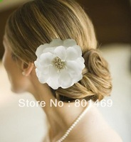 "2013 Hot 4.4"" Big White Bridal Hair Flower Clip Hair Band Brooch Wedding Bridesmai"
