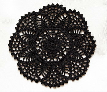 Gothic Black Crocheted  table mat/doliles/placemats, 8.3inches(21cm),  FREE SHIPPING
