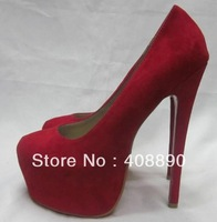 New fashion women  Red-soled shoes Red suede high with 16CM shoes  wedding shoes party shoes