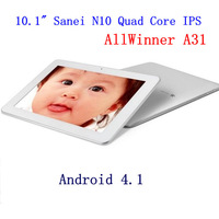 Free shipping Sanei N10 quad core AllWinner A31 10.1&quot; IPS screen android 4.1 2G RAM 16GB dual camera tablet pc Bluetooth HDMI
