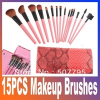 15PCS Makeup Brushes Tools Cosmetic Brush Set Eyebrow Comb with Roll up Snake Pattern Bag Free Shipping