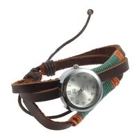 Leather Bangle Wrap Watch Strap Bracelets String Twined Quartz Wrist Watch