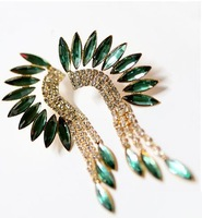 Min order  $15(mixed items) 2013  Baroque Acrylic Peacock Wings Tassel Stud Earring,Fashion Statement Earring  Free shipping!