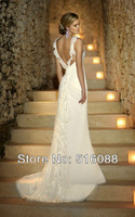 Free Shipping New High Quality Ruffled shoulder straps Beading Chiffon Wedding Dress/Bridal Gown Custom Sz Wholesale/Retail