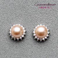 Duran jewelry new natural pearl stud earrings Sterling Silver Princess models genuine 9-10mm light