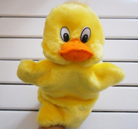 Super cute baby plush toy animal hand puppets Yellow duck Props/Gift Gloves doll free shipping