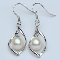 Duran jewelry natural freshwater pearl earrings earrings teardrop-shaped 925 Sterling Silver 8-9mm long section of female genuin