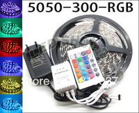 5M 5050 SMD RGB LED strip light  Flexible 60LED M with 24Key IR Remote Controller with Power Supply EU plug