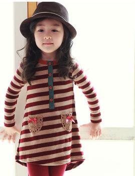 Free shipping Girls Long sleeve dresses strip dresses for girls 100-140 C0113