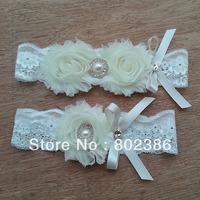 Ivory Bridal Garter Set Wedding Garter Crystal Rhinestone on a IVORY Lace
