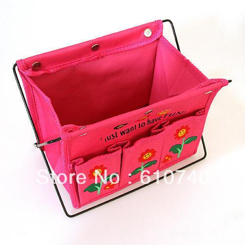 Oxford fabric folding hoaxed debris basket storage desktop box /home table organizer color random(China (Mainland))