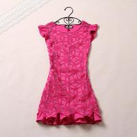 2014 princess wind small ruffled pleated sleeve crochet embroidery ruffle hem sweep one-piece dress