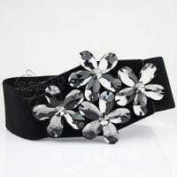 Gem flower rhinestone cummerbund broadened Women long short skirt accessories strap women's elastic waist belt