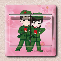 Festive married multicolour switch stickers military sleekly three generations of switch stickers wall stickers