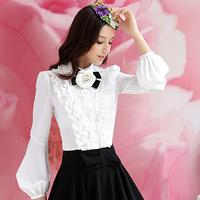 2013 Spring sweet Lolita style lady's white small stand collar lantern sleeve long-sleeve shirt female slim ruffle Blouse