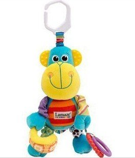 Free Shipping 1pcs retail Lovely monkey shape toy Lamaze ring toy baby animal rattle baby toys Educational newborn toys(China (Mainland))